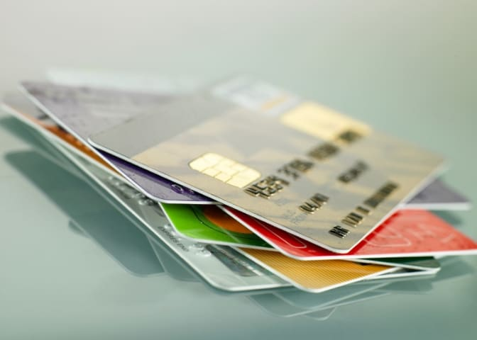 Credit cards stacked on top of each other