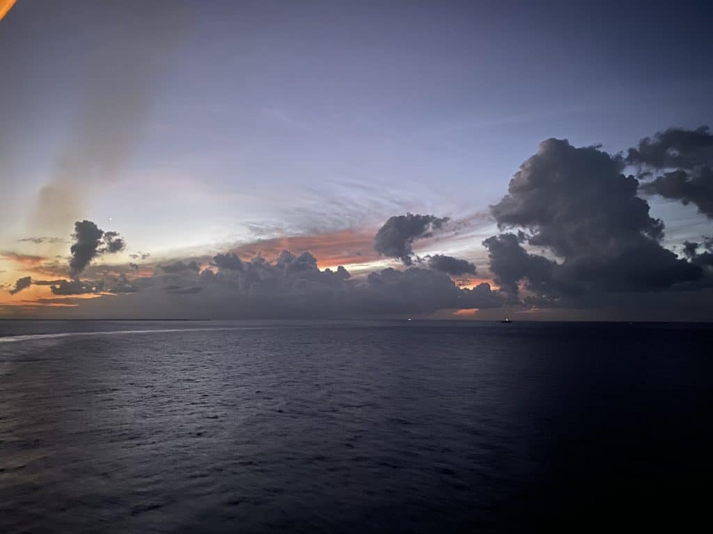 Sunset photo taken on the Carnival Conquest in 2019