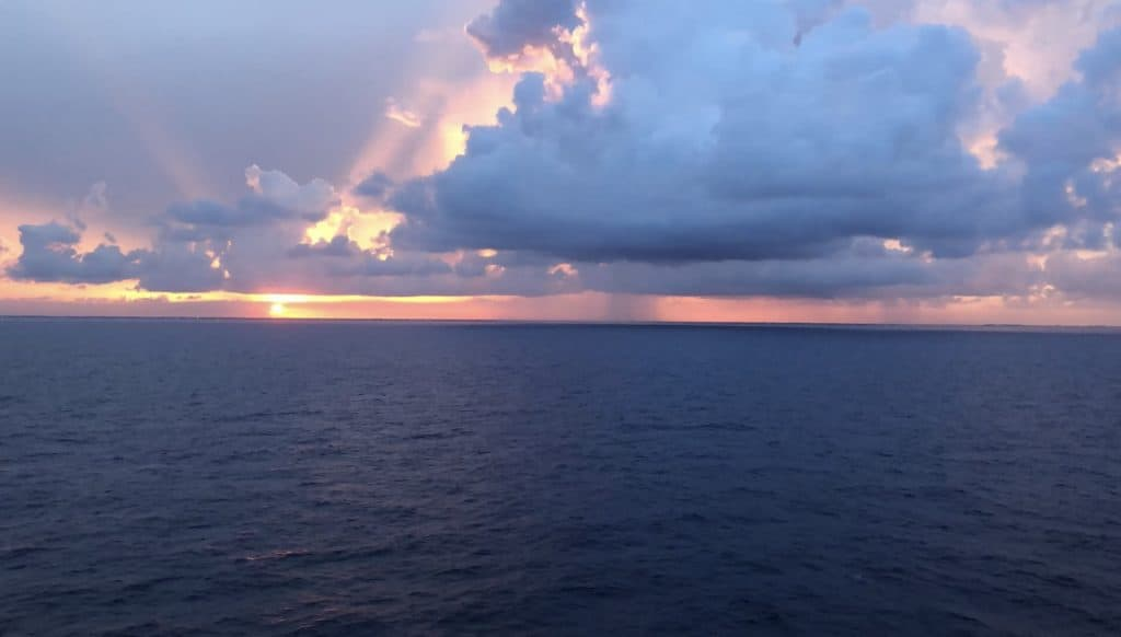 Photo of a sunset taken on the MSC Seaside in 2019