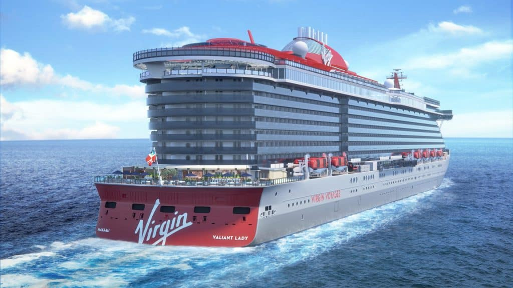 photo of virgin voyages' valiant lady.