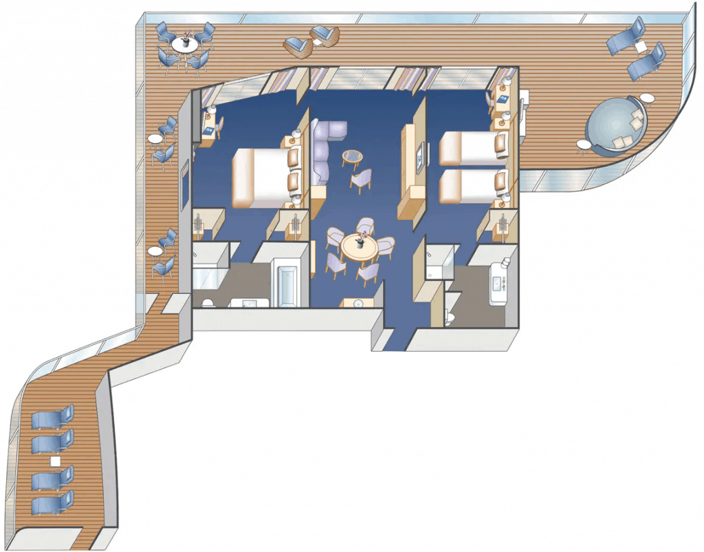 floor plan of sky suite on enchanted princess